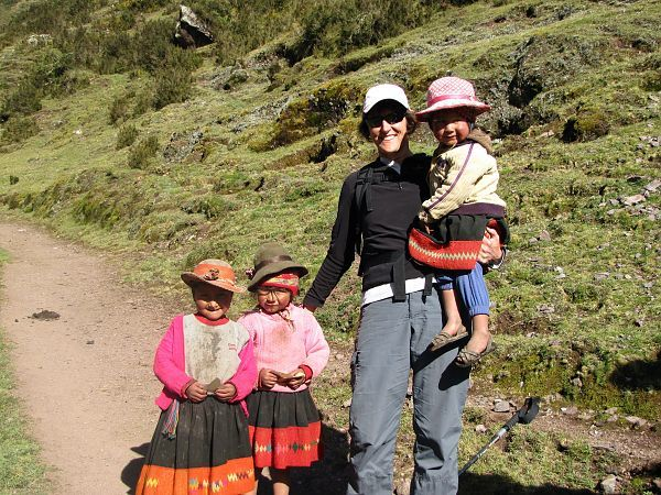 Peruvian children on the inca trail