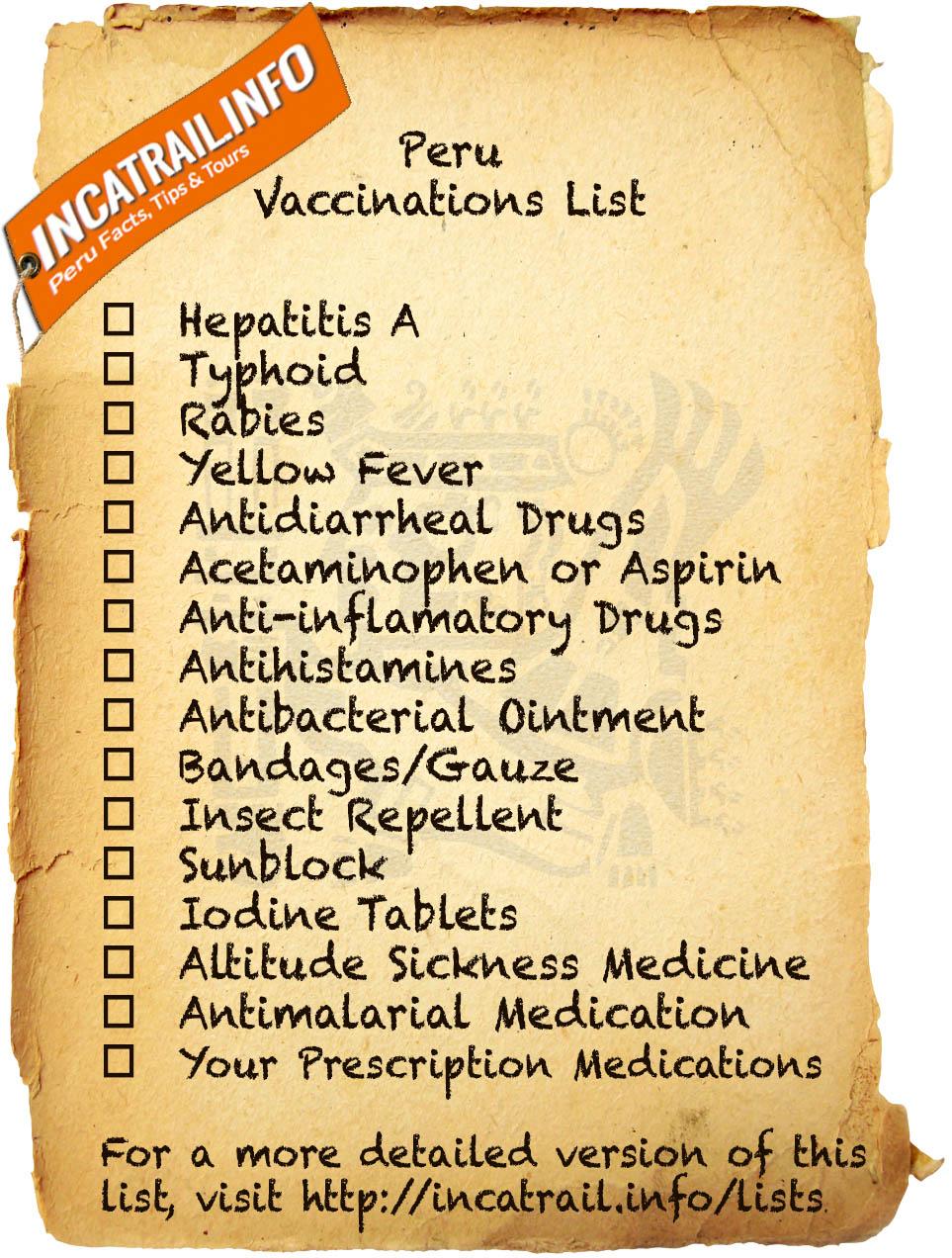 Peru Vaccinations List