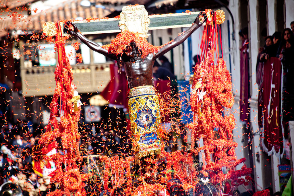 Image of the Lord of the Earthquakes, one of the major Peruvian festivals in Cusco.